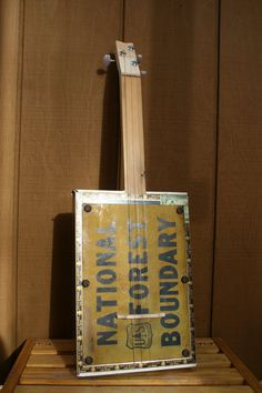 Vintage Sign Electric Cigar Box Guitar by DoubleArrowDryGoods, $55.00