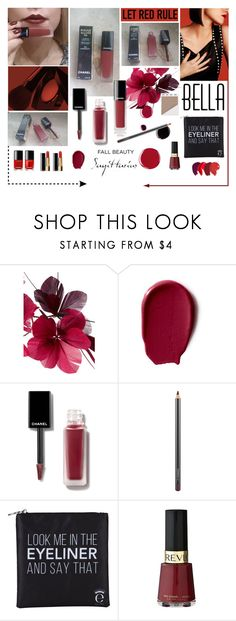 """""""Chanel matte liquid lipstick no.154 experimente + Mac lip pencil in currant"""" by aleksa ❤ liked on Polyvore featuring beauty, Chanel, Valentino, MAC Cosmetics, Eyeko and Revlon"""