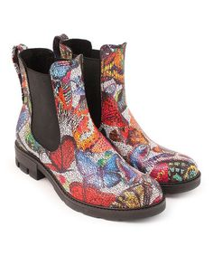 Loving this Red & Blue Butterfly Leather Chelsea Boot on #zulily! #zulilyfinds