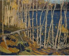 Tom Thomson Blue Lake: Sketch for In the Northland, Autumn, 1915. Oil sketch on wood panel.