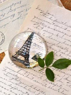 French Style Paris Eiffel Tower Crystal Paper Weight