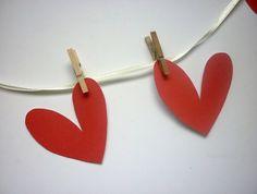 Small card heart bunting on lemon ribbon with pegs | Felt