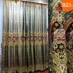Zilveren Gouden paleis hall bloemen Borduurwerk gordijnen Egypte royal woonkamer slaapkamer Gordijn Eetkamer Hotel Hal Gordijnen in     & van gordijnen op AliExpress.com | Alibaba Groep