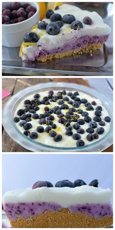 No-bake blueberry pie! This frozen pie is so delicious- lemon and blueberry!