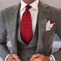 Gray Suit Men - Red Polka Dot Tie - Men's Style