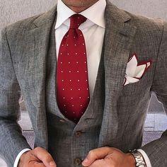 Gray Suit Men - Red Polka Dot Tie - Men's Style