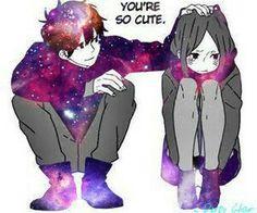 C U T E Anime Galaxy, Galaxy Art, Anime Love Couple, Cute Anime Couples, Photo Manga, Cute Anime Pics, Manga Love, Anime Kawaii, Cute Drawings