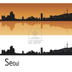 Seoul skyline in orange background in editable vector file Stock Photo