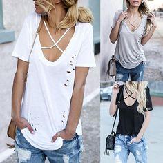 Fashion Spring Irregular Crisscross Ripped T-shirt