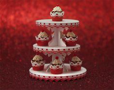 Miniature Dessert Tower and Cupcake Wrappers Kit by true2scale, $12.00