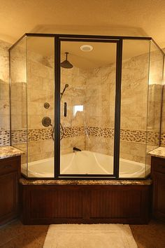 glass enclosed corner tub/shower combo - so you don't need a separate shower enclosure and tub Big Shower, Bathtub Shower Combo, Bathroom Tub Shower, Master Bathroom, Bathroom Ideas, Shower Base, Corner Tub Shower Combo, Shower Faucet, Shower Doors
