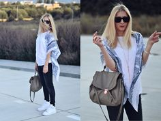H Paisley Scarf, New Yorker White Top, H Grey Pants, H Bag, Nike Air Force One Sneakers