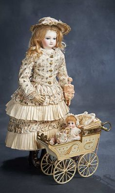 Ensemble - The Hanne Büktas Collection: 273 French Bisque Poupee by Jumeau with Wooden Articulated Body and Gorgeous Costume