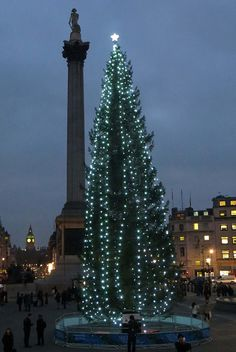 Trafalgar Square.  The Christmas tree is an annual gift from the people of Norway to Great Britain in appreciation and remembrance for their help in WWII.  (Source: Flickr / patricklondon)