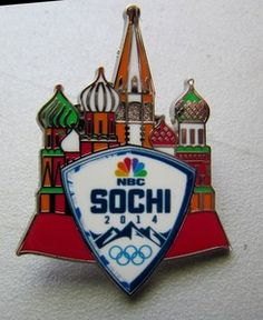 "2014 Winter Olympic Pins | Official NBC Sochi 2014 Olympic Pin ""St Basils"" Media Sponsor Badge ..."