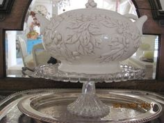Close up of the tureen, I believe I purchased it at Home Goods a few years ago, crystal cake plate from my collection, silver trays from my wedding, and estate sales.