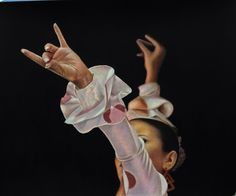 Flamenca a lápices policromos con toque finales en óleo