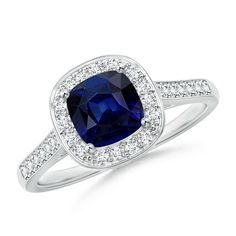 Make a statement with this Classic Cushion Blue Sapphire Ring with Diamond Halo from Angara.com. Explore a fascinating array of designs