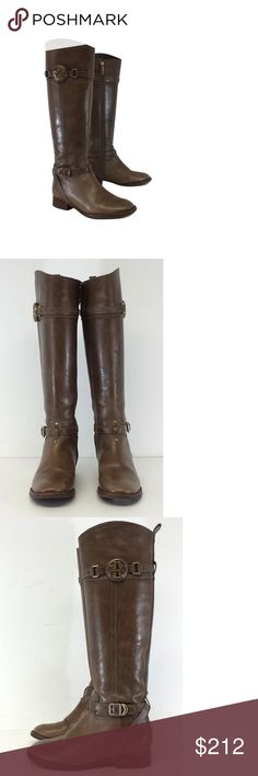 """Tory Burch- Light Brown Tall Leather Boots Sz 5.5 Size 5.5 Light Brown Tall Leather Boots Leather upper Fabric/leather lining Leather/man made sole Made in Brazil Zippers on side Adjustable ankle straps Gold T logo on sides Small water stains Light scratches Light heel wear Heel height 1.5"""" Total height 17.5"""" Shaft circumference 12.5"""" Bohemian, preppy, hippy, young, & luxe are all words to describethis designer's style. Tory Burch has a signature style but also keeps up with new trends and…"""