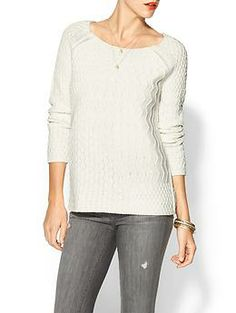 Hive & Honey Mixed Stitch Sweater | Piperlime, Color: Cream, Size: Medium