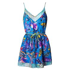 Matthew Williamson Blue Marble Nature Print Playsuit ($413) ❤ liked on Polyvore featuring jumpsuits, rompers, romper, beachwear, blue, cover-ups, floral rompers, floral romper, blue floral romper and matthew williamson