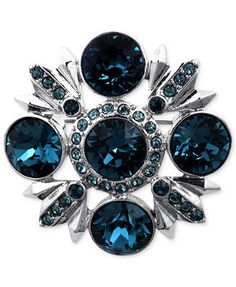 Givenchy Brooch, Silver-Tone Swarovski Montana and Sapphire Crystal Pin.  Love the deeo blue color.