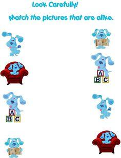 Blues Clues Match Worksheet for Preschoolers