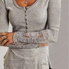 Hollowout Lace Sleeves Buttoned Women Tops