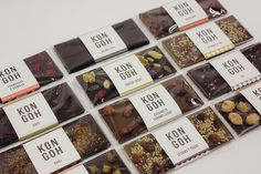 Kongoh Pop up store and branding by Egue y Seta, Barcelona Spain pop up chocolate store branding branding Chocolate Stores, Chocolate Brands, Chocolate Sweets, Homemade Chocolate Bars, Artisan Chocolate, Candy Packaging, Food Packaging, Coffee Packaging, Bottle Packaging