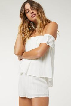LILIO ROMPER – O'Neill Honeymoon Clothes, Honeymoon Outfits, Off Shoulder Blouse, Off The Shoulder, Body Measurements, Flutter Sleeve, Warm Weather, Rompers, Sleeves