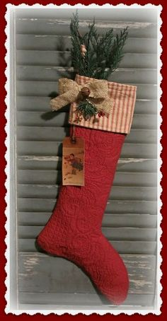 Primitive Quilt Christmas Stocking