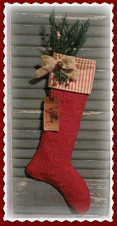 Primitive Quilt Christmas Stocking