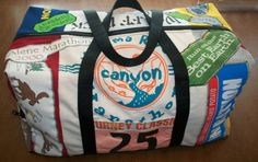 Gym bag made from race bibs and t-shirts.  totally need this!