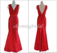 Mermaid V-neck Red Floor-Length Lace Bow Bridal Dress,Party Dress,Long Formal Dress,Bridesmaid Dress, Bridesmaid Dresses, cheap Prom Dress on Etsy, $129.00