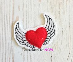 Flying Heart with wings Feltie Embroidery by EmbroiderThatNow