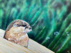 Pet Portraits, Art Gifts and Custom Artwork Surreal Art, Otters, Pet Portraits, Surrealism, Bird, Pets, Artist, Artwork, Painting