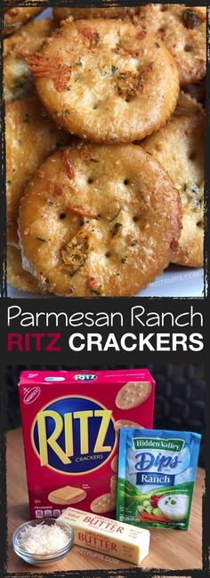 Zesty Baked Ritz Crackers — SO GOOD! (made with butter, ranch seasoning mix an… Zesty Baked Ritz Crackers — SO Snacks Für Party, Appetizers For Party, Appetizer Recipes, Snacks Kids, Appetizers With Meat, Snack Ideas For Kids, Crackers Appetizers, Appetizer Dessert, Appetizer Ideas