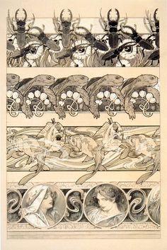 Alphonse Mucha - Documents décoratifs: final study for Plate 60 Art Nouveau Mucha, Alphonse Mucha Art, Art Deco Artwork, Cool Artwork, Architecture Art Nouveau, Art And Architecture, Design Art Nouveau, Grafik Design, Oeuvre D'art