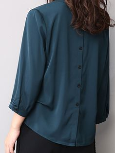 Autumn Spring Women Single Breasted Decorative Button Plain Long Sleev – viviyeah Source by anuindelhi blouses classy Blouse Styles, Blouse Designs, Classy Outfits For Women, Casual Skirt Outfits, Blouse Online, Ladies Dress Design, Shirt Blouses, Blouses For Women, Ladies Blouses