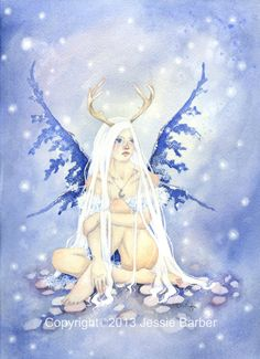 Fairy Art Print - 8.5x11 - Winter's Fae - fantasy. cold. snow. white. whimsical. blue. girl.. $20.00, via Etsy.