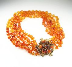 Vintage Miriam Haskell  Five Strand Amber Art by zephyrvintage, $395.00