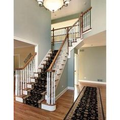 The Natco Kurdamir Rockland Black 26 in. Wide x Your Choice Length Roll Runner is machine made and comes with jute backing for stability. This runner is stain resistant and provides long lasting usage. It is an attractive choice for your home decor. Interior Stairs, Interior Exterior, Interior Design, Stair Renovation, Staircase Remodel, House Stairs, Basement Stairs, Staircase Design, Stair Design