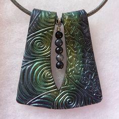 Handmade metallic polymer clay pendant   by bycreativehands