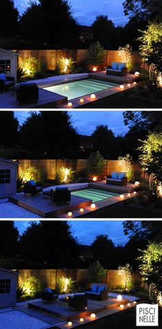 Here are outdoor lighting ideas for your yard to help you create the perfect nighttime entertaining space. outdoor lighting ideas, backyard lighting ideas, frontyard lighting ideas, diy lighting ideas, best for your garden and home Deck Lighting, Landscape Lighting, Lighting Ideas, House Lighting, Backyard Lighting, Lighting Design, Swimming Pool Designs, Swimming Pools, Backyard Landscaping
