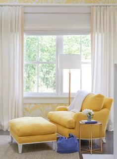 White and yellow bedroom features walls clad in Meg Braff Meadow Reed Wallpaper lined with a corner yellow chair and ottoman illuminated by a gold floor lamp. Living Room Chairs, Home Living Room, Living Spaces, Small Living, Feature Wall Bedroom, Transitional Bedroom, Chair And Ottoman, New Furniture, Decoration