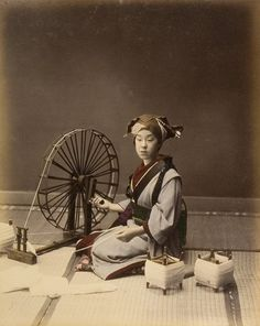 Japanese woman winding wool, ca. 1908 - 1912