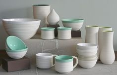 I love the simple off white with pastel accent. Something similar for kitchenware would be lovely. Kitchenware, Tableware, Aqua, Turquoise, Kitchen Stuff, My Favorite Color, My Dream Home, Product Design, Mint Green