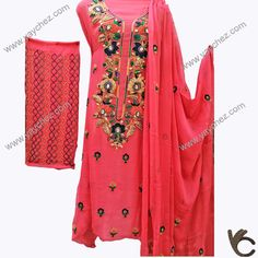 Hand made embroidery on pure fabric shirt with the combination of multi color thread work for every age.Party or wedding wear. Beautiful Dress Designs, Beautiful Dresses, Floral Lehenga, Thread Work, Neck Design, Hand Embroidery Designs, Handmade Beads, Wedding Wear, New Dress