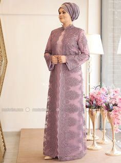 Lilac - Fully Lined - Crew neck - Muslim Plus Size Evening Dress Hijab Gown, Hijab Evening Dress, Hijab Dress Party, Evening Dresses, Hoco Dresses, Dress Brokat, Kebaya Dress, Kebaya Muslim, Muslim Dress