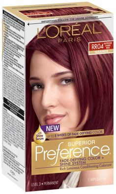 Since L'Oreal Superior Preference has been their gold standard in permanent hair color delivering extraordinary shine and luminous hair color that lasts and lasts. Best Red Hair Dye, Dyed Red Hair, Colored Curly Hair, Warm Brown Hair, Brown Blonde Hair, At Home Hair Color, Hair Color And Cut, Hair Dye Colors, Brown Hair Colors